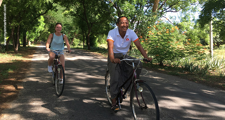Ride a bicycle in bagan