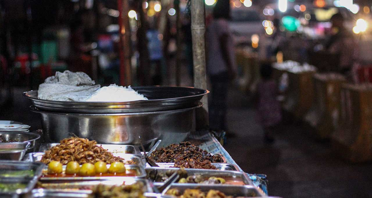 Strand Road night market in yangon