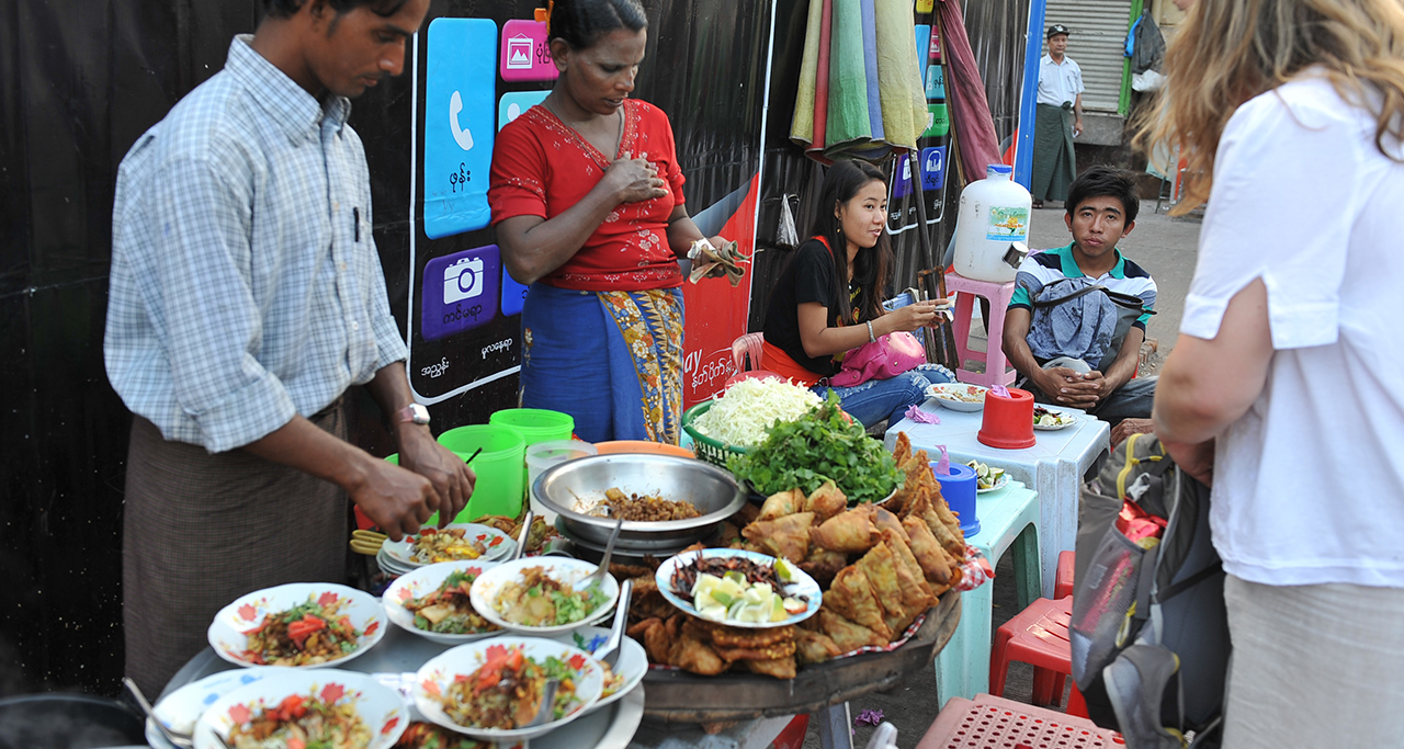 Deep – fried snacks, one of popular street food in Yangon.