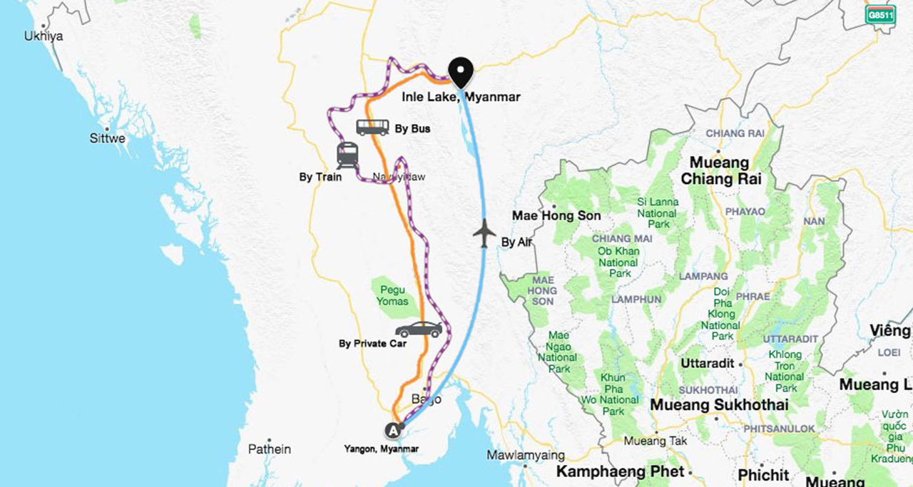 yangon to inle lake travel map