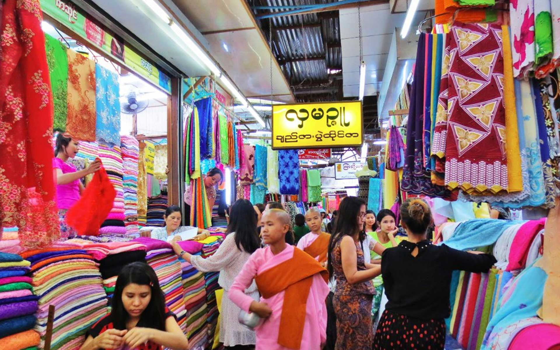 It's easy to find longyi for purchase in markets and shops on the streets