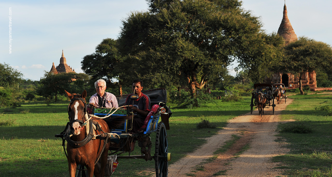 Discover the famous Bagan temples on a horse carriage ride.
