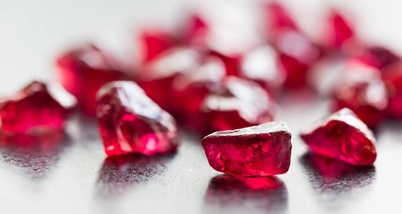 Rough and unpolished rubies in Myanmar