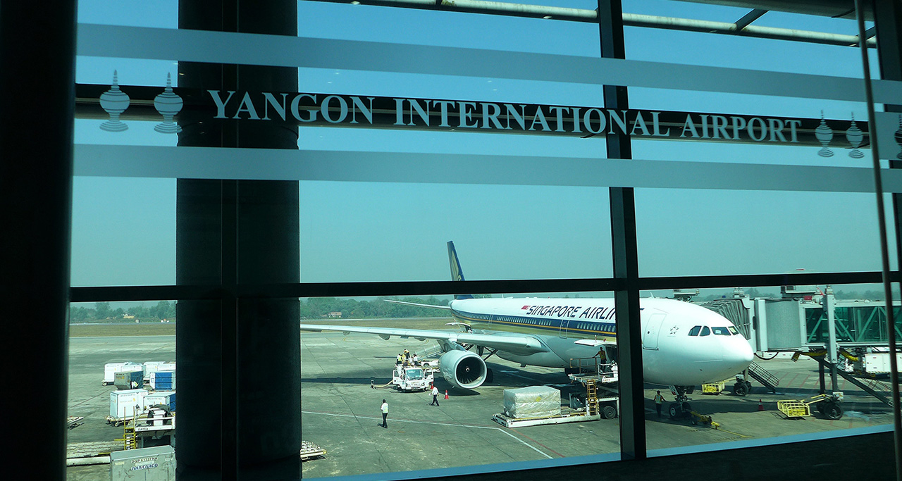 Yangon International Airport, 15km from Yangon downtown.