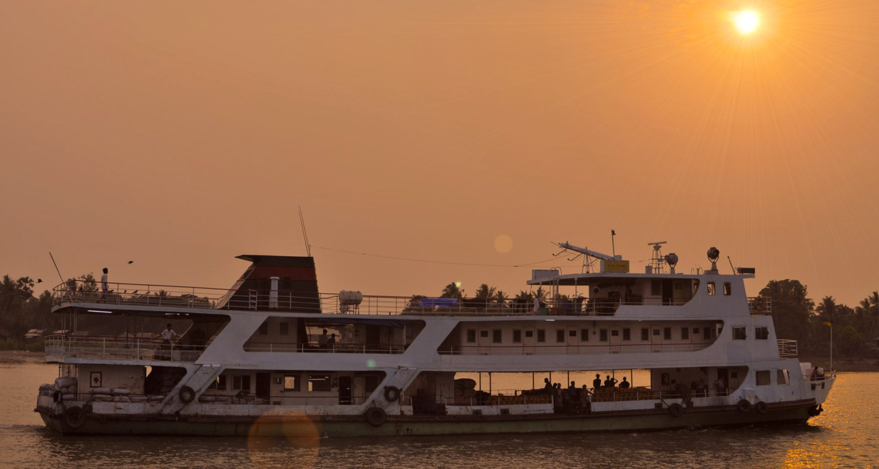 Enjoy sunset on Yangon River by Yangon Water Bus.