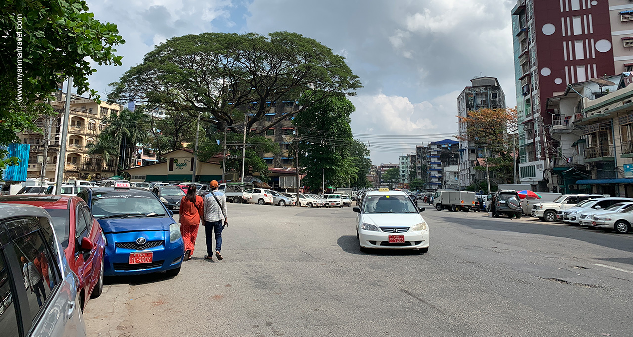 Taxi is easy to meet on Yangon streets.