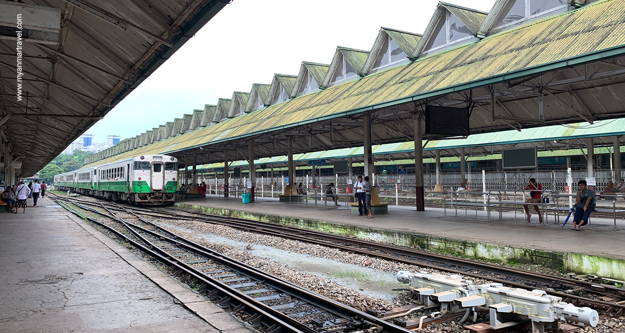 Travelers can travel by slow trains from Yangon to major cities throughout the country.
