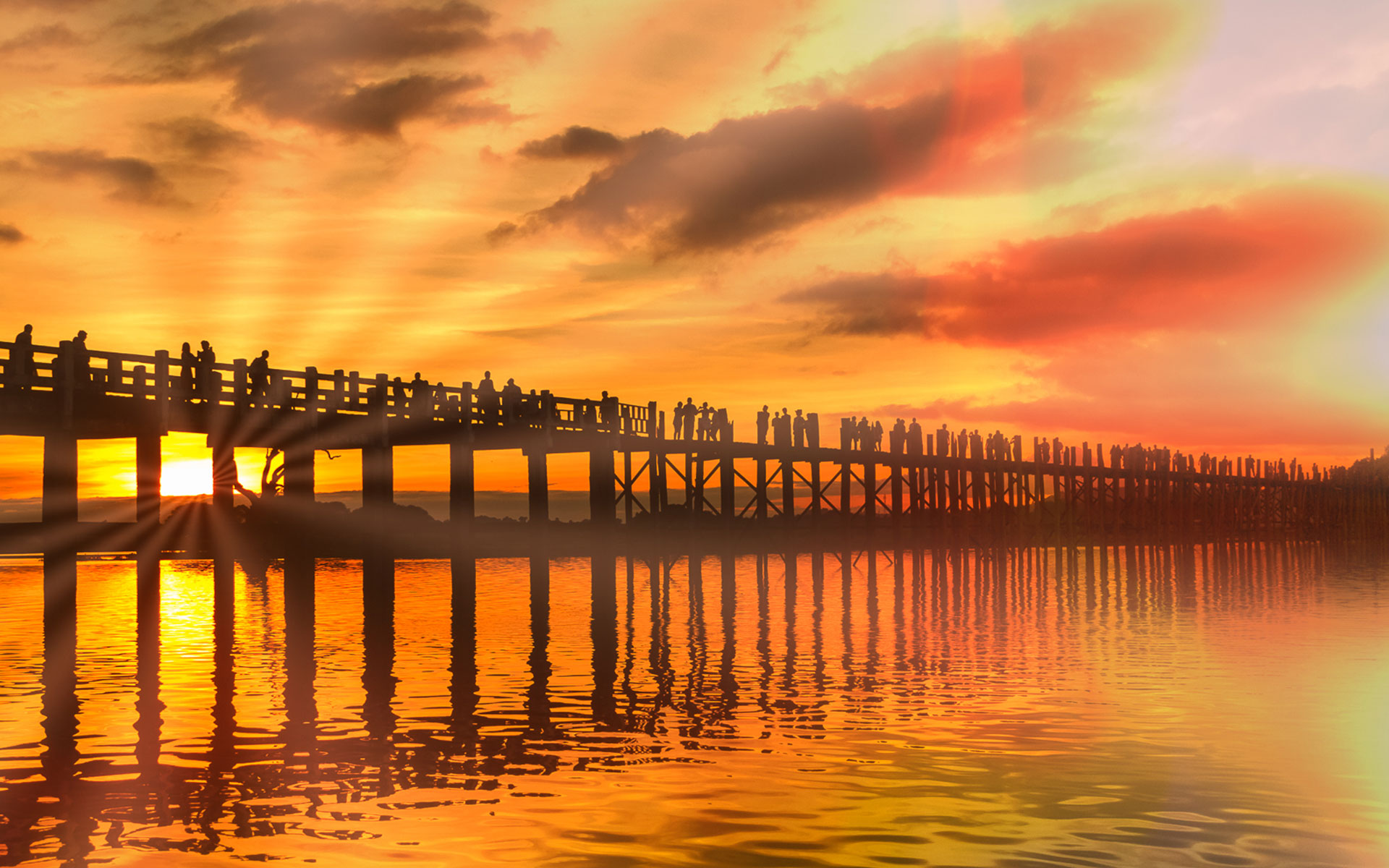 sunset in U Bein bridge mandalay myanmar