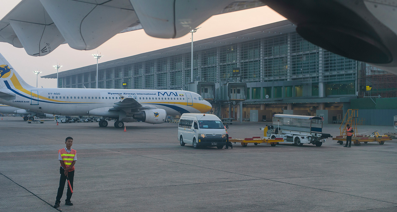 Yangon Airport connects Yangon with the most destinations in Myanmar.