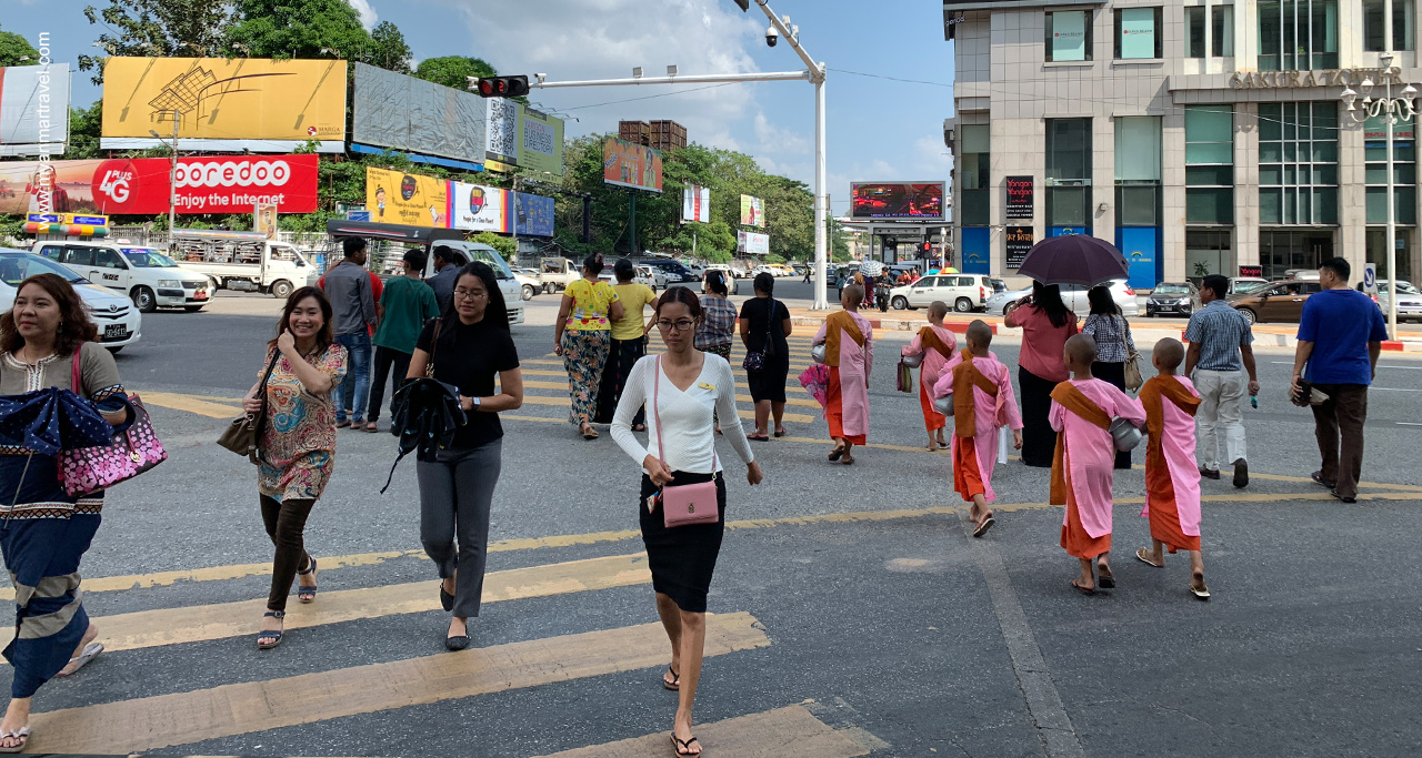 Walking is the best way to visit busy streets of Yangon.